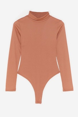 Nasty Gal Womens We Better Say High Neck Petite Bodysuit - Tan