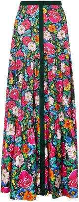 Mary Katrantzou Parakeet Floral-print Silk-twill Maxi Skirt