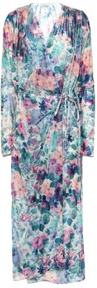 ATTICO Floral velvet wrap dress