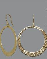 gold hammered large hoop earrings