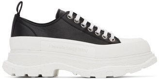 Alexander McQueen Black and White Leather Tread Slick Sneakers