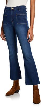 Frame Le Bardot Crop Flare Raw-Edge Jeans