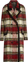 Burberry Peak-lapel checked wool-blend coat