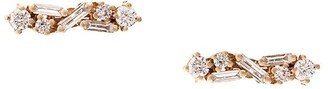 Suzanne Kalan 18kt Rose Gold Diamond Baguette Bar Stud Earrings