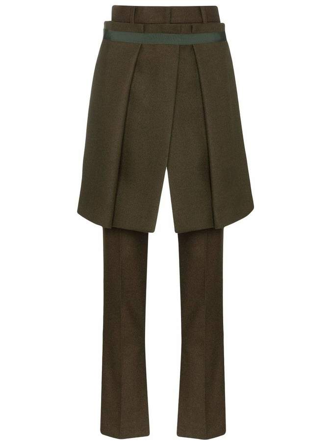 Sacai Melton Split Hem Long Pants with Front Skirt