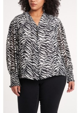 Vince Camuto Women's Plus Smocked Cuff Animal Impressions Blouse