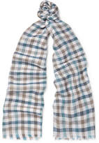 Loro Piana Checked Cashmere And Silk-blend Scarf - Blue