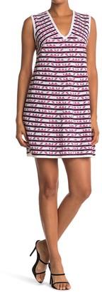 M Missoni Striped V-Neck Knit Mini Dress