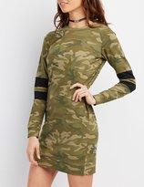 Charlotte Russe Camo Varsity Stripe Sweatshirt Dress