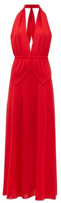 Roland Mouret Katana Halterneck Wool-crepe Dress - Womens - Red