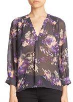Joie Aceline Floral Ikat Silk Blouse
