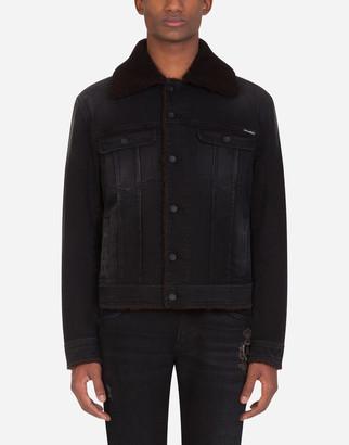 Dolce & Gabbana Black Denim Jacket With Wool Lining