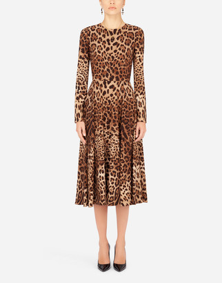 Dolce & Gabbana Leopard-Print Calf-Length Cady Dress