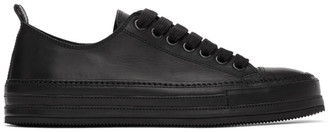 Ann Demeulemeester Black Oil Leather Sneakers