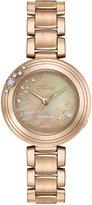 Citizen Eco-Drive Women's Carina Diamond Accent Rose Gold-Tone Stainless Steel Bracelet Watch 28mm EM0463-51Y