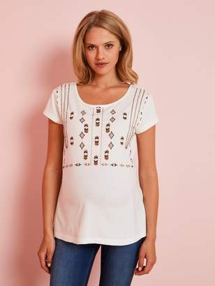 Vertbaudet T-Shirt Embroidered with Beads, for Maternity