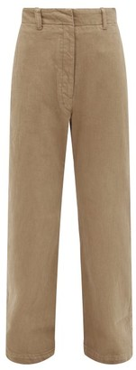 Lemaire High-rise Garment-dyed Straight-leg Jeans - Light Brown
