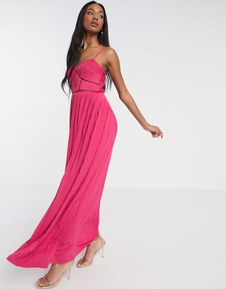 Asos DESIGN Premium cami pleated maxi dress with ladder trim detail in pink
