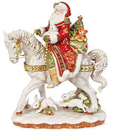Fitz & Floyd Damask Holiday Santa on Horse Figurine