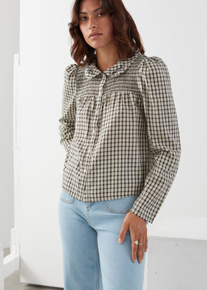 And other stories Button Up Embroidered Collar Puff Sleeve Top