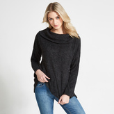 Apricot Charcoal Fuzzy Waffle Roll Neck Jumper