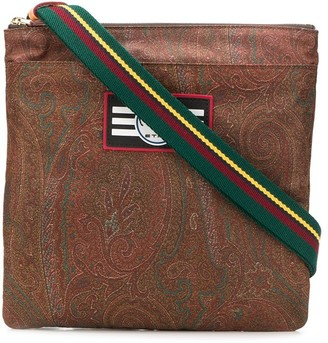 Etro Paisley Print Logo Patch Messenger Bag