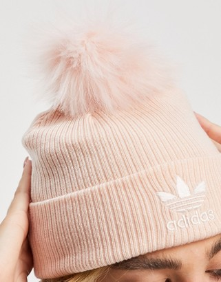 adidas logo faux fur bobble beanie in pink