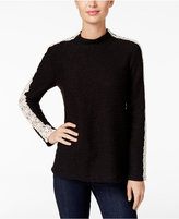 Style&Co. Style & Co. Petite Lace-Trim Marled Knit Top, Only at Macy's