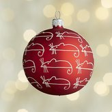 Crate & Barrel Glitter Sugar Mice Red Ball Mice Ornament