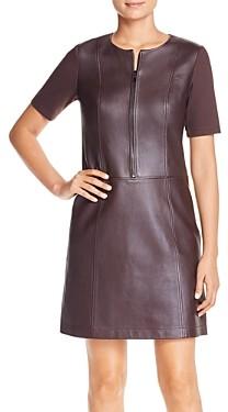 Elie Tahari Buffy Leather Mixed-Media Dress