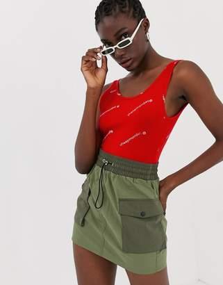 Cheap Monday Dip web logo bodysuit-Red