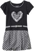 Nannette Toddler Girl Sequin Heart & Houndstooth Knit Dress