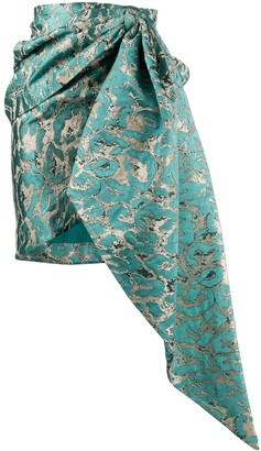 Christian Pellizzari Draped Jacquard Mini Skirt
