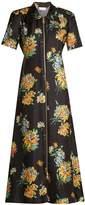 Raey Zip-front chrysanthemum-print silk-twill dress