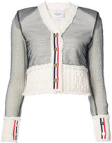 Thom Browne INSIDE OUT V-NECK TAILORED CARDIGAN IN WHITE KNIT ARAN CABLE SHETLAND WOOL