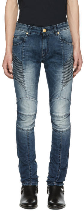 Pierre Balmain Blue Faded Biker Jeans