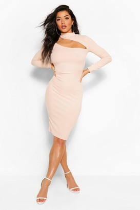 boohoo Cut Out High Neck Bodycon Midi Dress