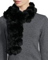 Adrienne Landau Rabbit Fur Pompom Scarf, Black