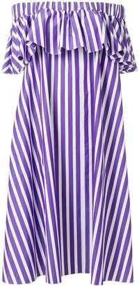 Maison Rabih Kayrouz Off-Shoulder Striped Dress