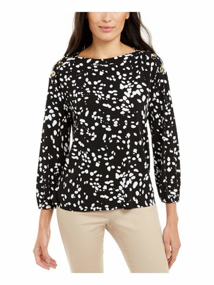 Alfani Womens Black Printed Long Sleeve Boat Neck Blouse Top UK Size:12