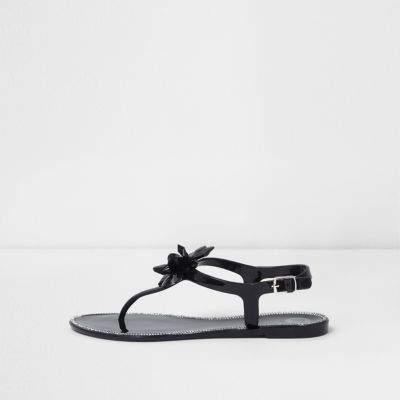 River Island Black jelly jewel flower sandals