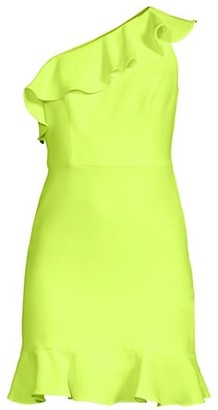 Aidan Mattox Crepe Flounce One-Shoulder Dress