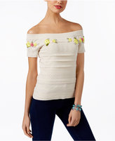 INC International Concepts Embroidered Off-The-Shoulder Sweater, Only at Macy's