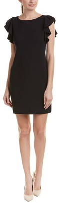 T Tahari Women's Solid Ruffled Cap Sleeve Stretch Crepe Dress