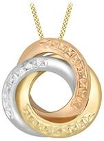 Carissima Gold 9 ct 3 Colour Gold Diamond Cut Rings Pendant on Curb Chain of Length 46 cm/18 inch