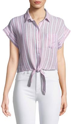 Rails Amelie Striped Linen Button-Down Top