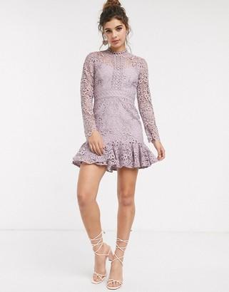 Forever New peplum mini dress in lilac