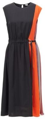 BOSS Sleeveless silk dress with D-ring belt and keyhole closure