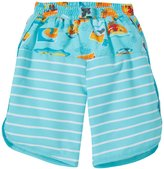 I Play Board Shorts With Built-in Swim Diaper (Baby) - Aqua Surf Sunset - 3-6 Months