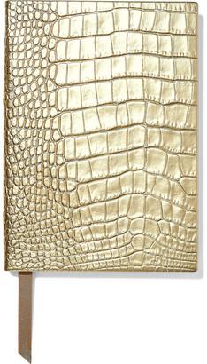 Smythson Soho Metallic Croc-effect Leather Notebook